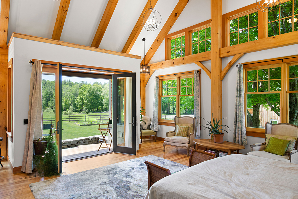 Finished interior of a timber frame bedroom