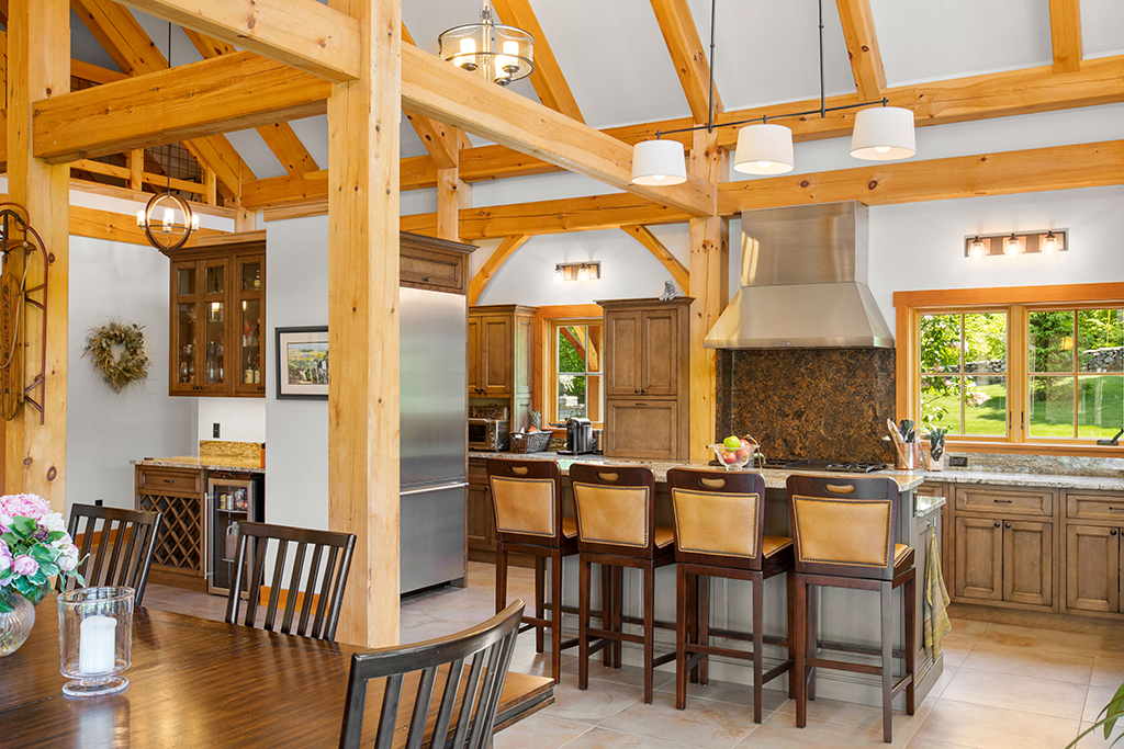 Finished interior of a timber frame kitchen and dining room
