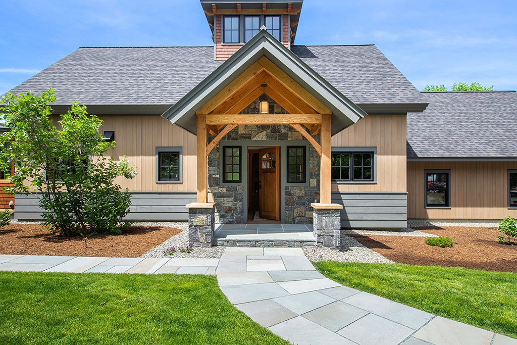 Finished exterior of a timber frame house