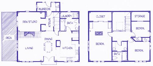 Queenspost Saltbox floor plan
