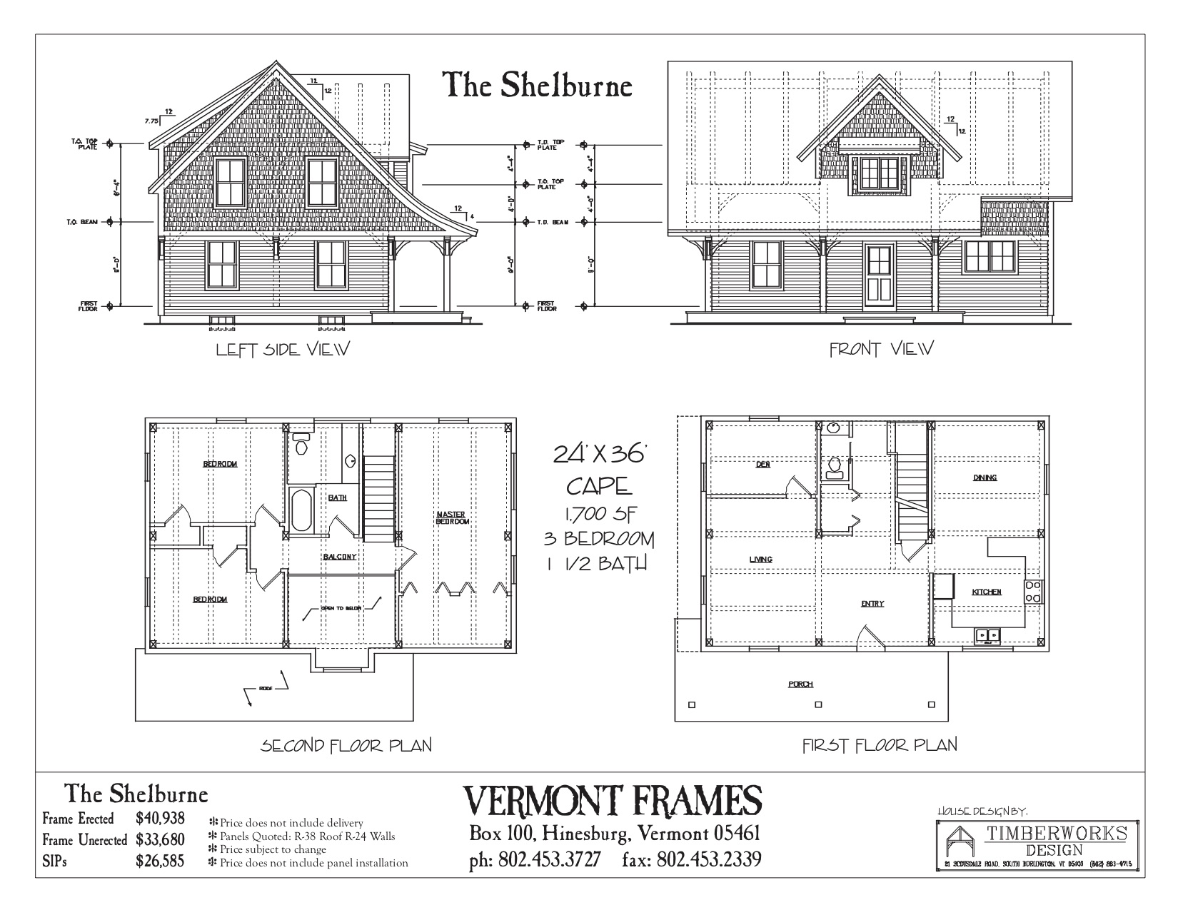 Shelburne Cape floor plan