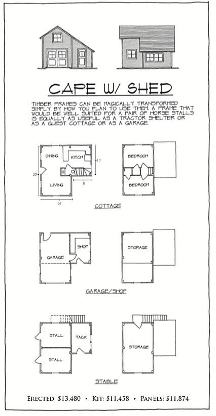 Cape with Shed floor plan