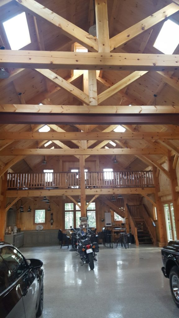 Finished timber frame barn