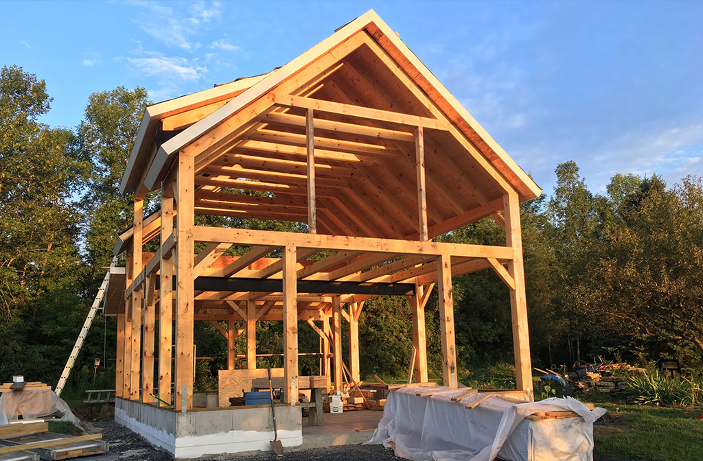 Timber frame barn structure