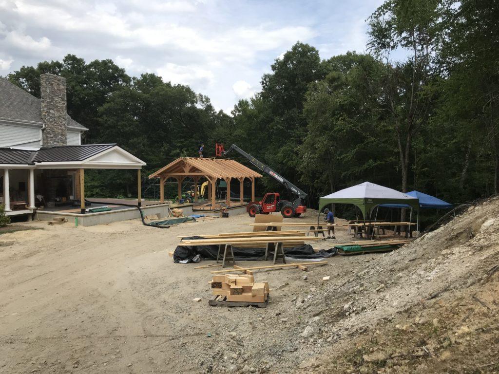 Timber frame pavilion structure being built