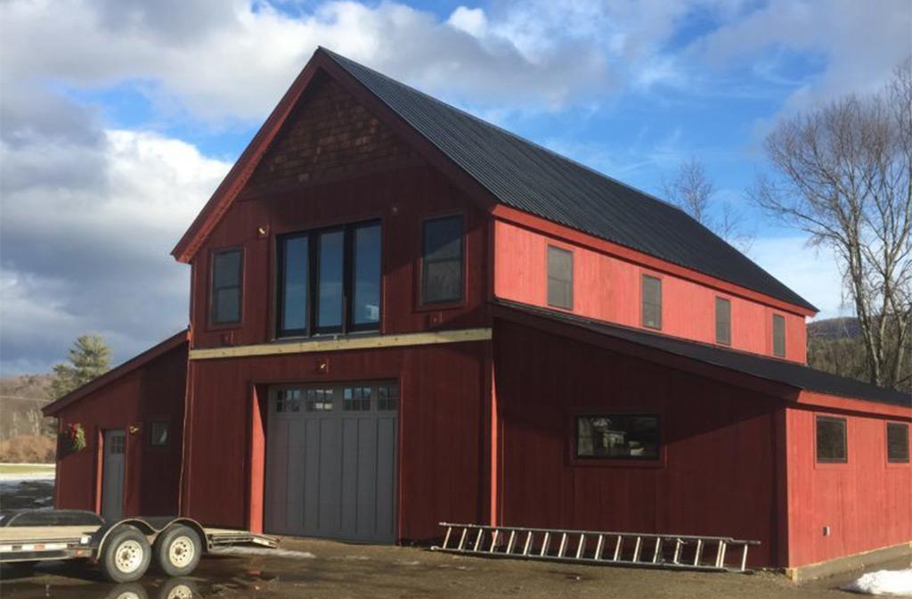 Finished timber frame barn