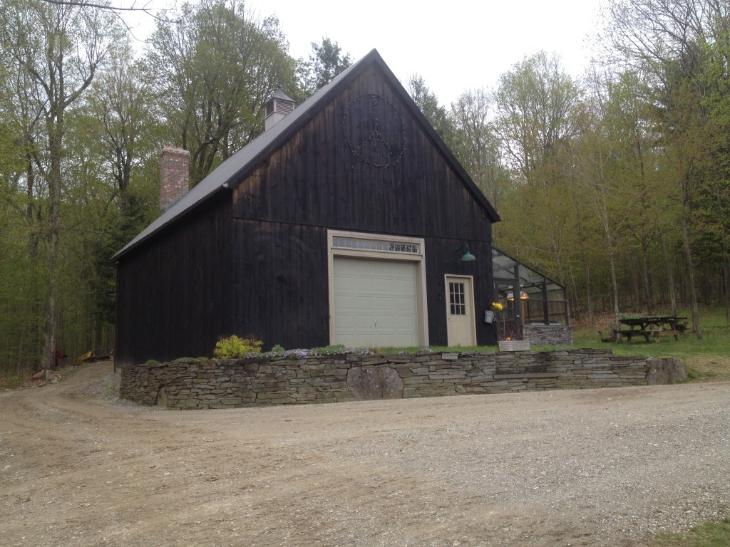 Finished timber frame barn exterior