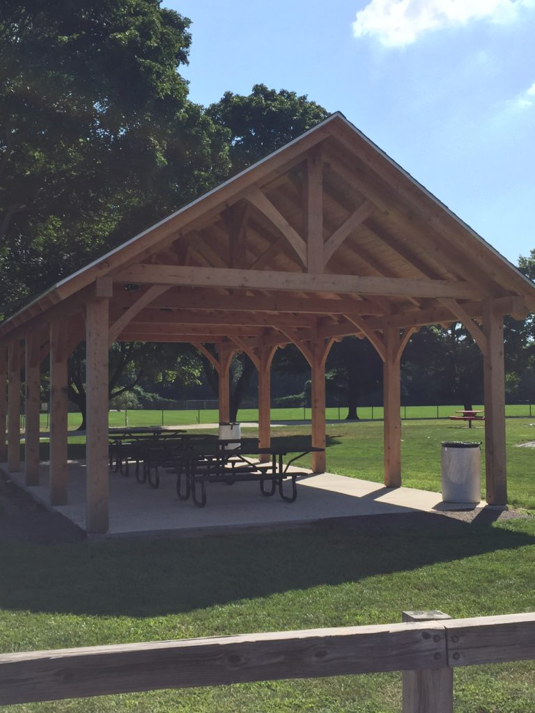 Finished timber frame pavilion