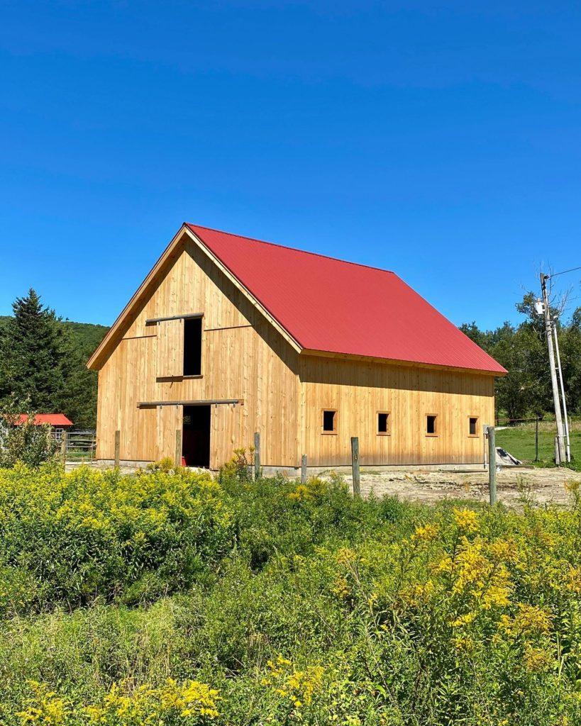 Finished timber frame barn exterior