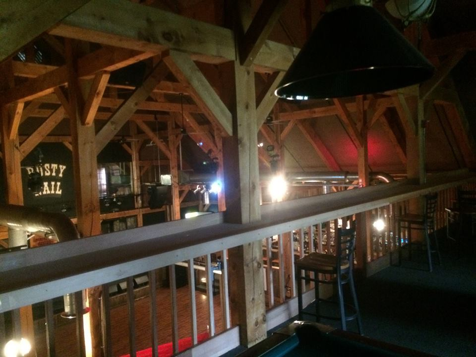 Timber frame interior of a music venue in Stowe