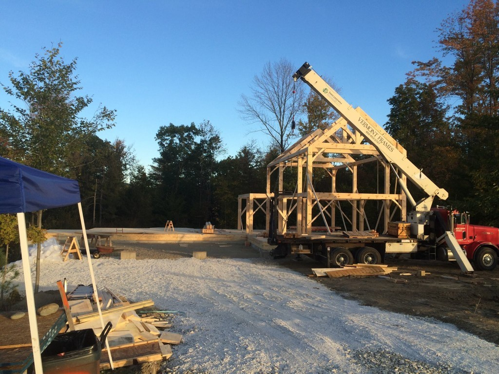 Timber frame structure in progress