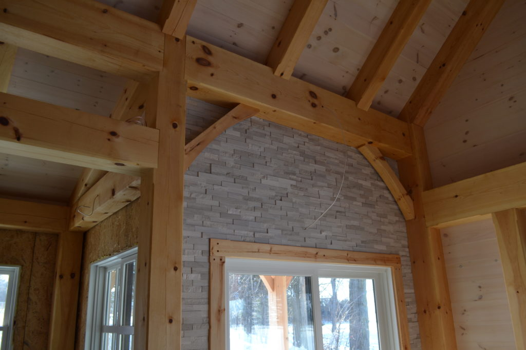 Finished interior of a timber frame cape
