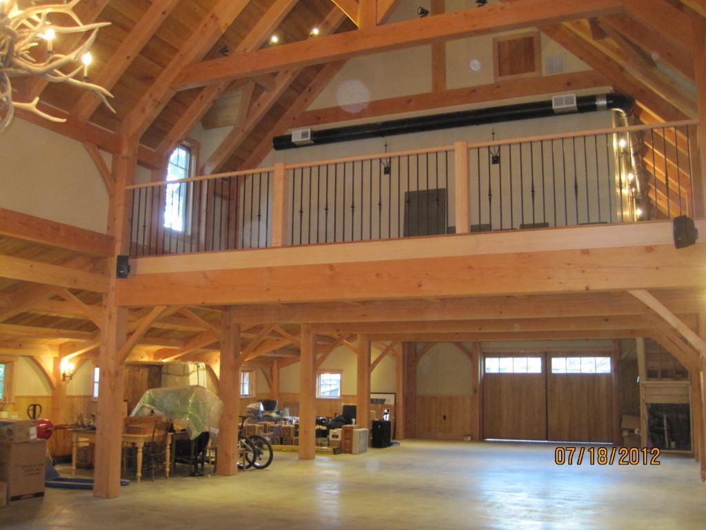 Finished interior of a timber frame custom cape