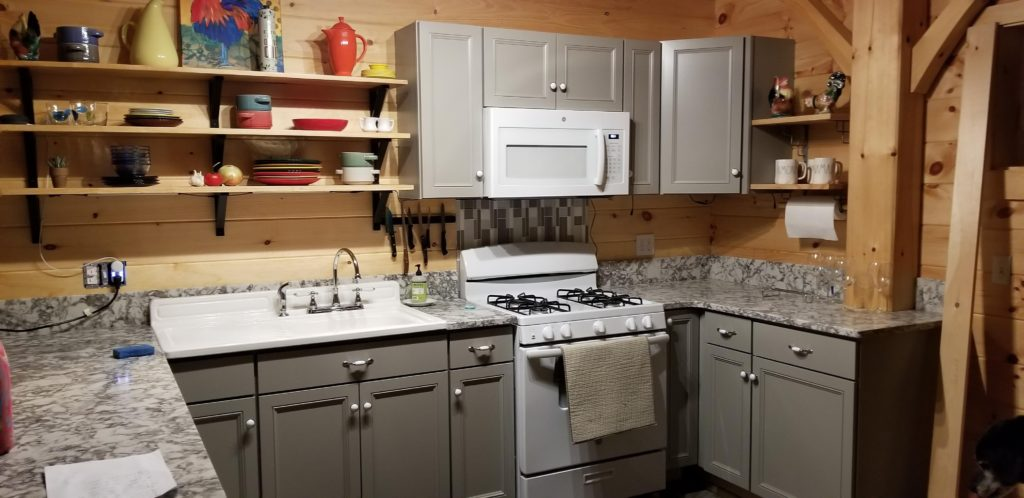 Finished interior kitchen of a timber frame camp