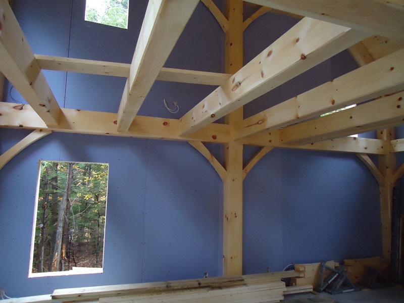 Timber frame interior in progress