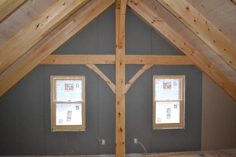 Finished timber frame cape interior