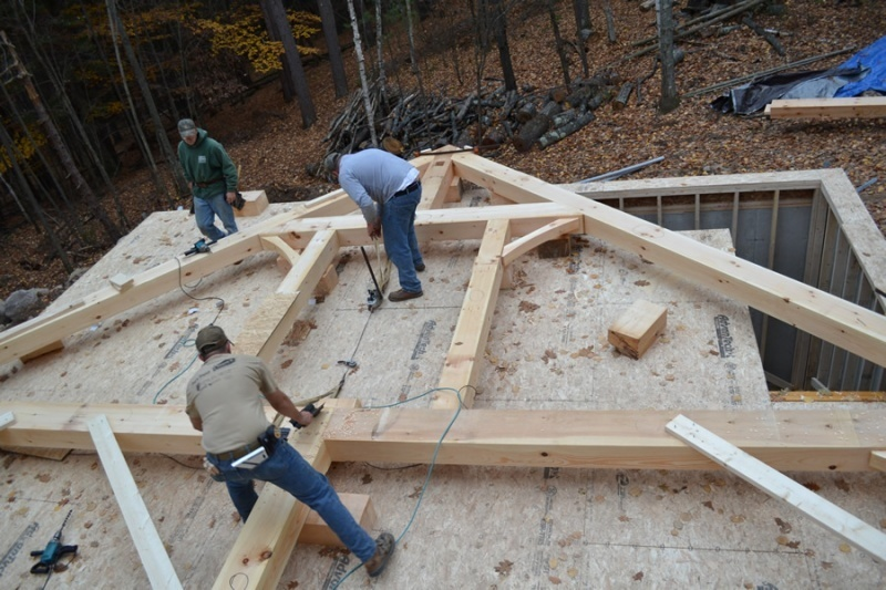 Vermont Frames crew building the timber frame