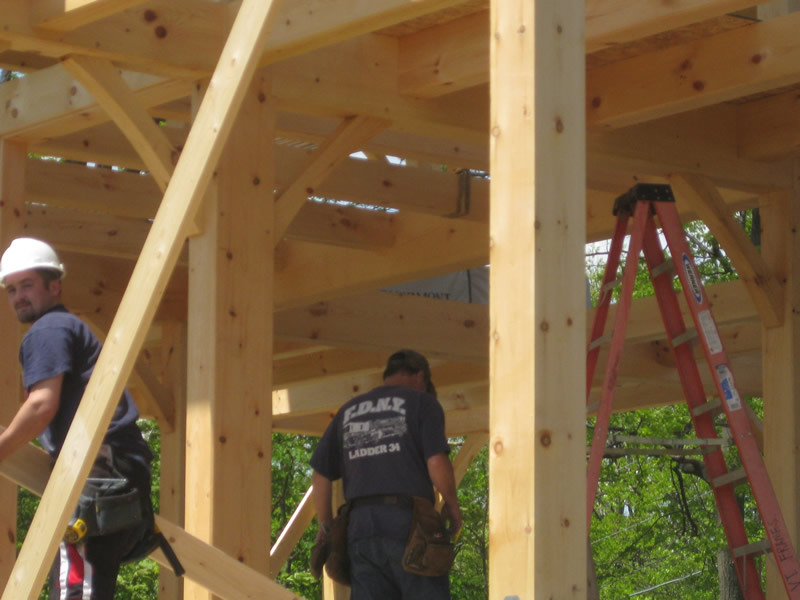 Beams inside a timber frame structure