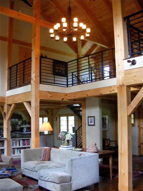 Finished interior of a timber frame colonial